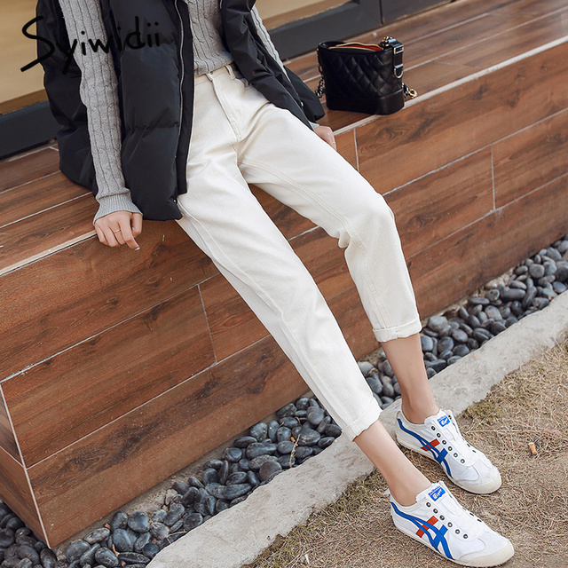 Cotton white jeans woman high waist skinny jeans woman plus size mom jeans black 2019 spring new beige blue hot sale