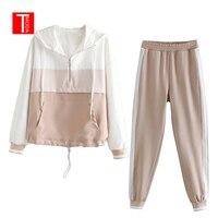 Комплект женский Винтаж розовый контраст цвет Бейсбол бомбер пуловер куртка для женщин топы корректирующие и карандаш бег брюки для девоче
