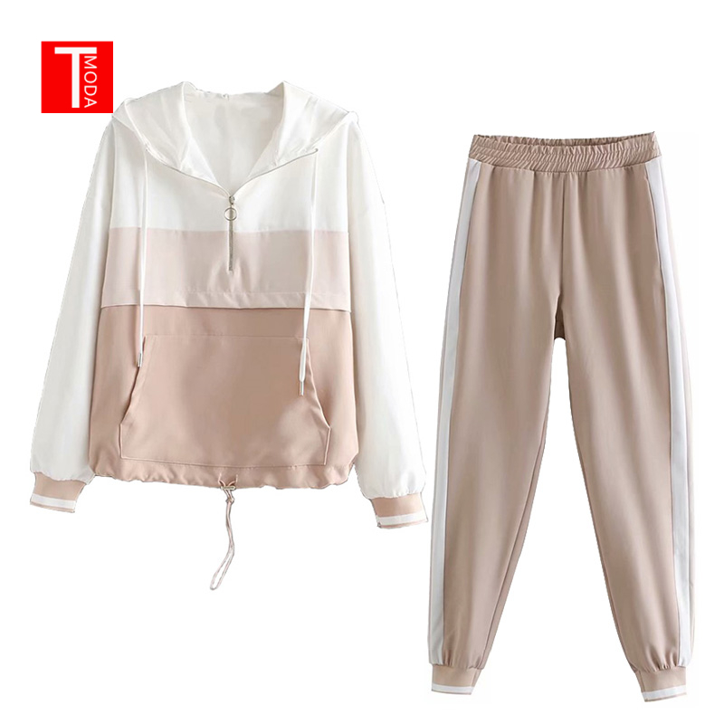 Set Female Vintage Pink Contrast Color Baseball Bomber Pullover Jacket Women Tops And Pencil Jogging Pants Suits Two Piece Sets
