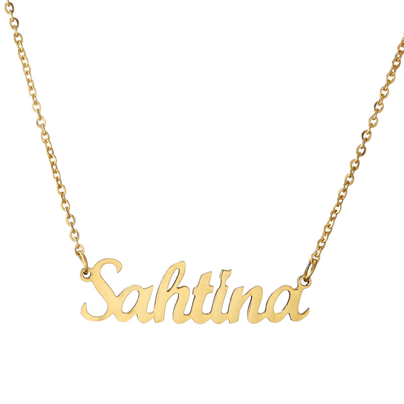 Name Necklace Stainless Steel Choker Gold Color Personalized Nameplated Necklaces & Pendants Jewelry Custom Women Gift