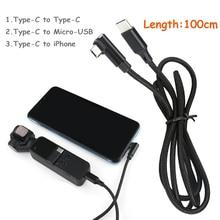 Cable de datos USB de extensión trenzada de nailon para DJI OSMO POCKET, cardán de mano tipo C a micro usb/Tipo C/para Lightning Charger Cord