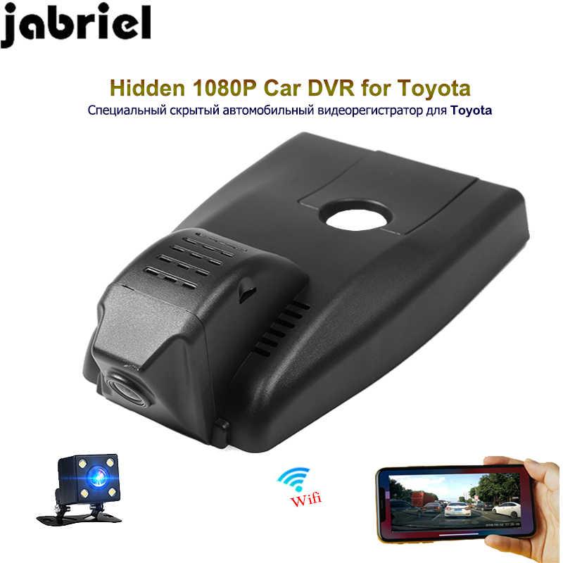 Jabriel chowana kamera samochodowa 1080 P ios/android wifi app samochód dvr dash rejestrator wideo z dwoma obiektywami lusterko cam dla Toyota IZOA 2018