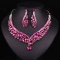 Fashion Indian Jewellery Pink Crystal Necklace Earrings Bridal Jewelry Sets Wedding Accessories Decoration Christmas Gift Women