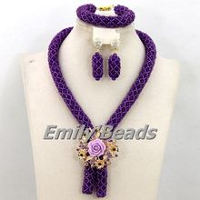 2016 Fashionable African Beads Jewelry Set Purple Costume Nigerian Wedding African Bridal Jewelry Set Free Shipping AEJ989
