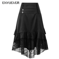 Enyuever Steampunk Gothic Skirt Women Irregular High Low Vintage Ruffled Button Black Lace Victorian Style Medieval Party Skirt