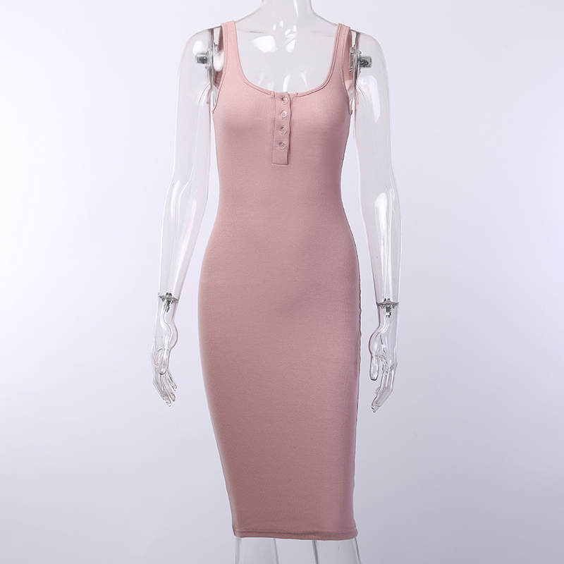 V-neck Knitted Elastic Sleeveless Button Knee-length Bodycon Dress