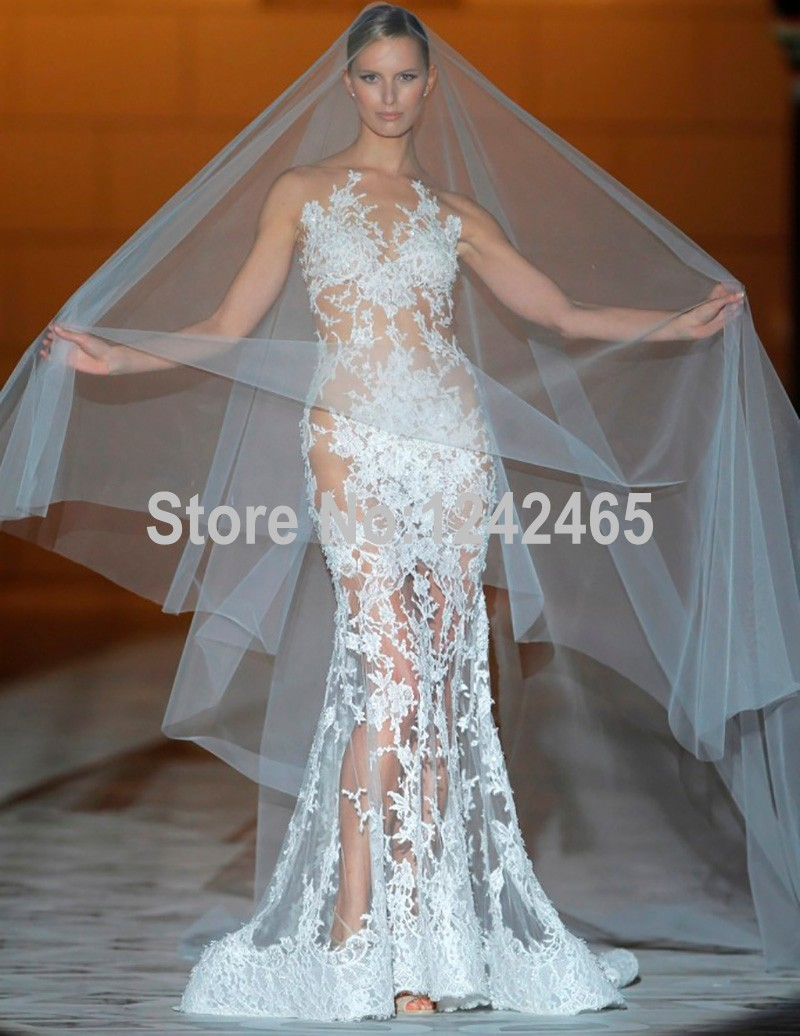 Very sexy see through wedding dress lace appliqued robe de for Very sexy wedding dresses