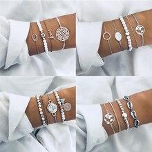 Yobest Vintage bohemio cuerda geométrica lentejuelas piedra pulsera conjunto para mujeres Luna mapa Elefante corazón hoja joyería femenina