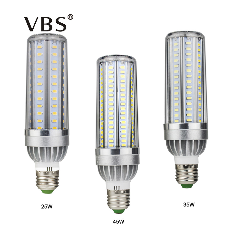 VBS Led Bulb 25W 35W 45W High Power Corn Light 85-265V E27  Leds Lamp 5730 SMD Corn Bulb Lampada Aluminum Fan Radiator Lighting led lamp corn bulb spotlight smd 5730 lampada led e27 high power 220v 240v lamparas 24 36 48 56 69 72 96 leds warm cold white