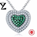 Romantic Heart 925 Sterling Silver Emerald Stone Crystal Pendants Necklaces White Gold Plated for Women Sterling-Silver-Jewelry