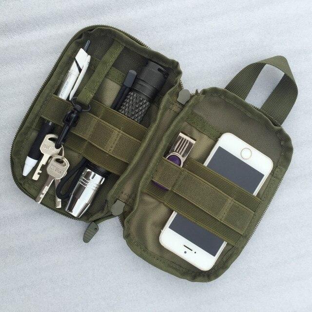 """Perjalanan luar Saku Organizer EDC MIni MOLLE Taktik Pinggang Paket 5 """"Taktik Telepon Pouch Bag Cordura Nylon SBS Ritsleting"""