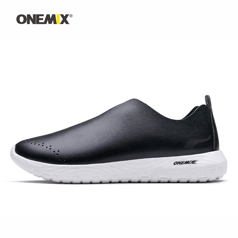 Onemix Men Running Shoes for Women Black Microfiber Leather Loafers Breathable Jogging Sneakers Outdoor Sport Walking Trainers onemix brand outdoor running shoes men s sneakers elastic women jogging shoes black trainers sport air shoes breathable mesh