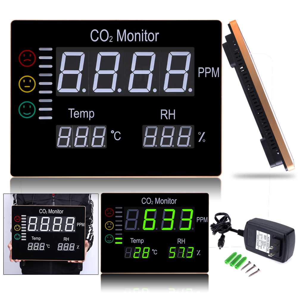 Digital Wall Mount Air Temperature RH PPM Carbon Dioxide CO Monitor Temperature