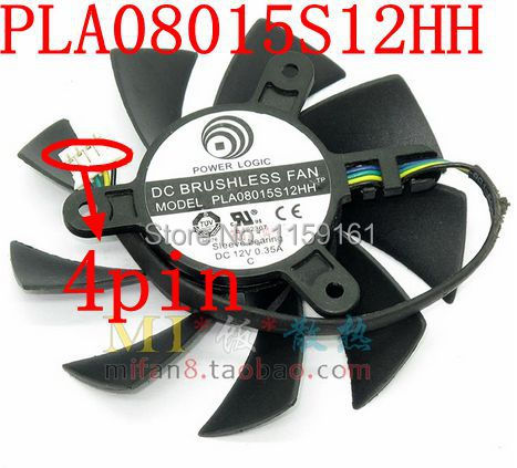 Free Shipping   PLA08015S12HH  75mm 42x42x42mm 4PIN  graphics card cooling fan светильник 300204 or aqua helios