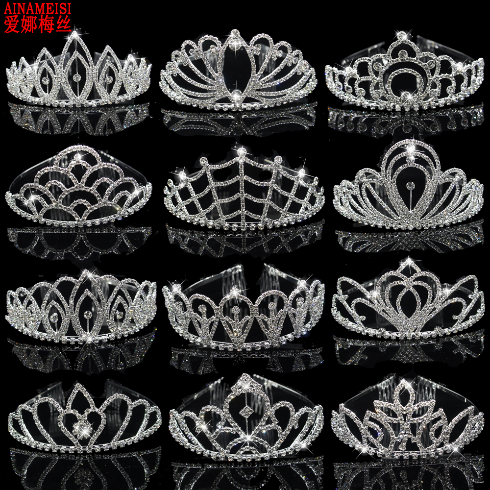 AINAMEISI Fashion Luxury Silver Crystal Bridal Tiaras and Crowns Comb Pageant Headbands Big Crown Wedding Hair Jewelry For Women