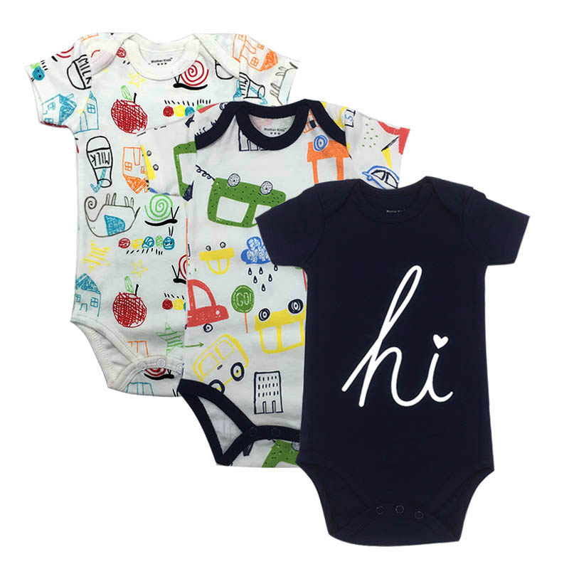 3-Pack Fashion Print Baby Boy Girl Clothing Set Short Sleeve Baby Bodysuits Summer Underwear Jumpsuit Baby Funny Cute Clothes