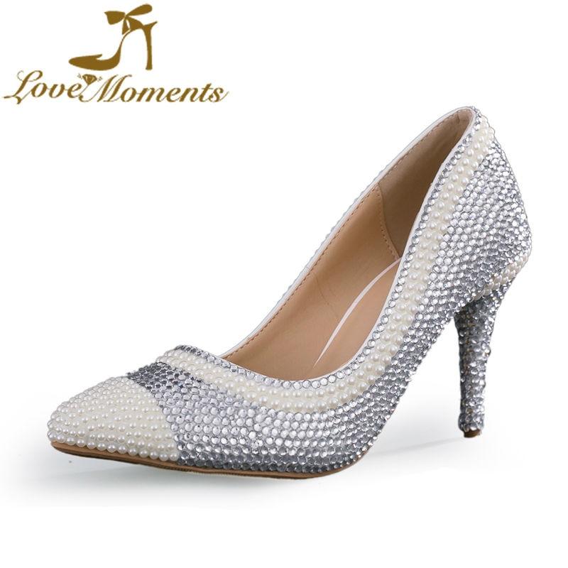 ФОТО 2016 new design  rhinestone wedding shoes  handmade crystal shoes bridal shoes thin heels pointed-toe women's dress party  pumps