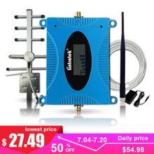 Gsm amplificador 900 mhz 2g celular impulsionador de sinal telefone móvel internet repetidor de sinal de rede display lcd antena cabo kit>
