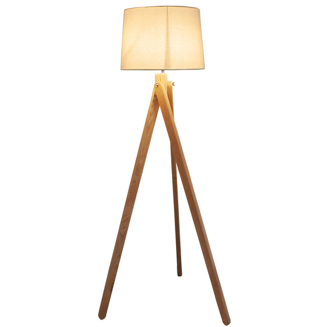 Simple Nordic Standing Lamp Wood Leg Fabric Lampshade E27 Warm Floor Living Room Bedroom Restaurant 3 Legs Light