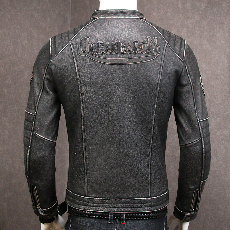 Image 2 - HARLEY DAMSON Vintage Grey Men Slim Fit Biker's Leather Jacket Stand Collar Plus Size XXXXL Genuine Cowhide Spring Leather Coat-in Genuine Leather Coats from Men's Clothing