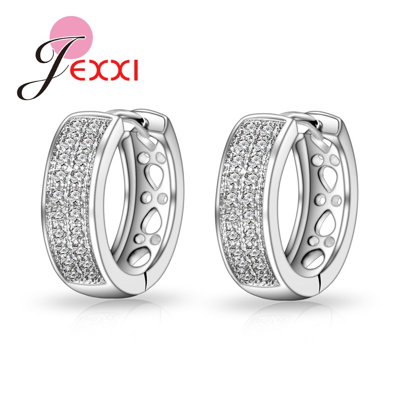 JEXXI Full Shiny CZ Diamond High Quality Sterling Sliver Fashion Earrings/Stud For Women/Girls Hot Sale Best Gift For Lover