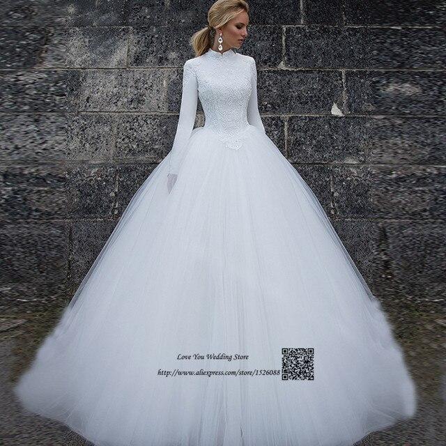 367effd32b8c7 الإسلامي الأبيض الرقبة العالية فساتين زفاف تركيا كم طويل مسلم الرباط العروس  ثوب الأميرة vestidos دي