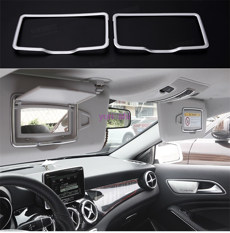 Detail Feedback Questions about 2pcs ABS chrome Car Sunvisor Cosmetic  Mirror Decoration Frame Sticker Car styling For Mercedes Benz A B C E class  CLA GLE ... 4b3b3ea6e73
