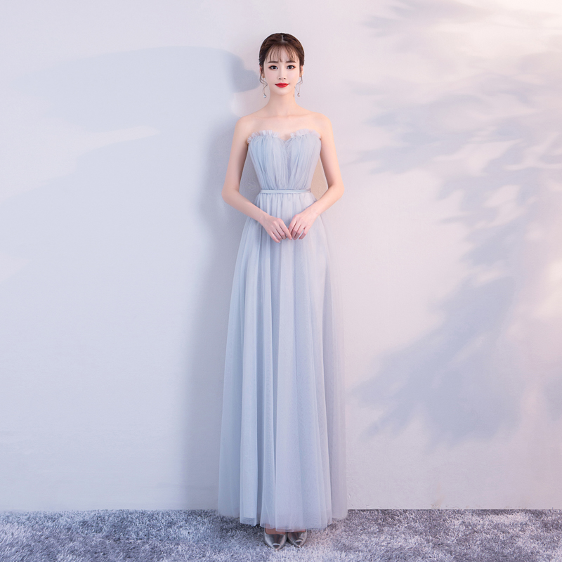 Sexy Prom Dress Vestido Blue Grey Colour Bridesmaid Dresses Sleeveless Long Party Dress Yarn Mesh Dress Back Of Bandage
