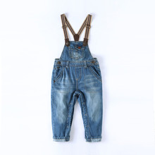 цены Kids Overalls Denim Baby Boy Girl Denim Overalls Jeans Soft Toddler Jumpsuit Infant Newborn jeans Romper Open Pants 9M-3T