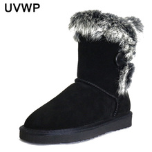 UVWP Women's Fashion 100% Genuine Leather Warm Winter Boots Snow Boots Natural Rabbit Fur Boots Women Boots Shoes Free Shipping(China)