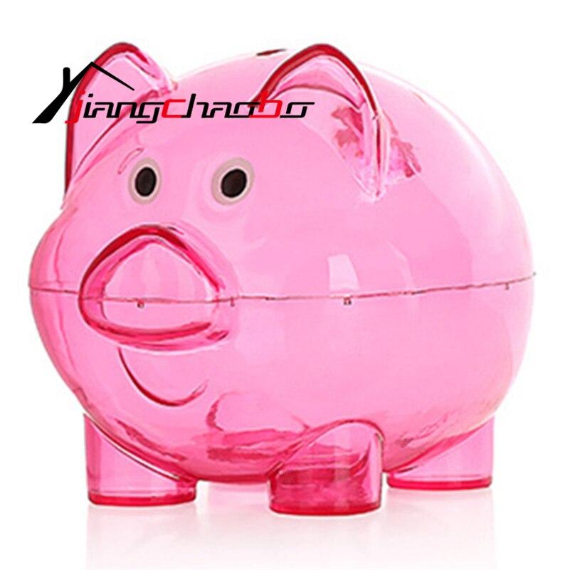 Large plastic transparent cute pig shape money saving box for Transparent piggy bank money box