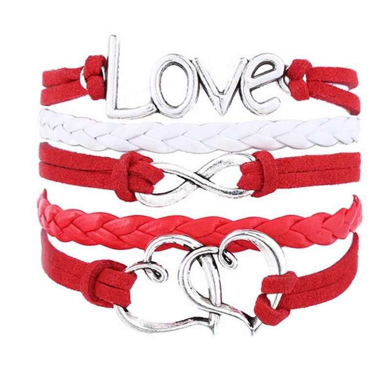 Handmade Multilayer Infinity Love Charm Leather Weave Jewelry Bracelet