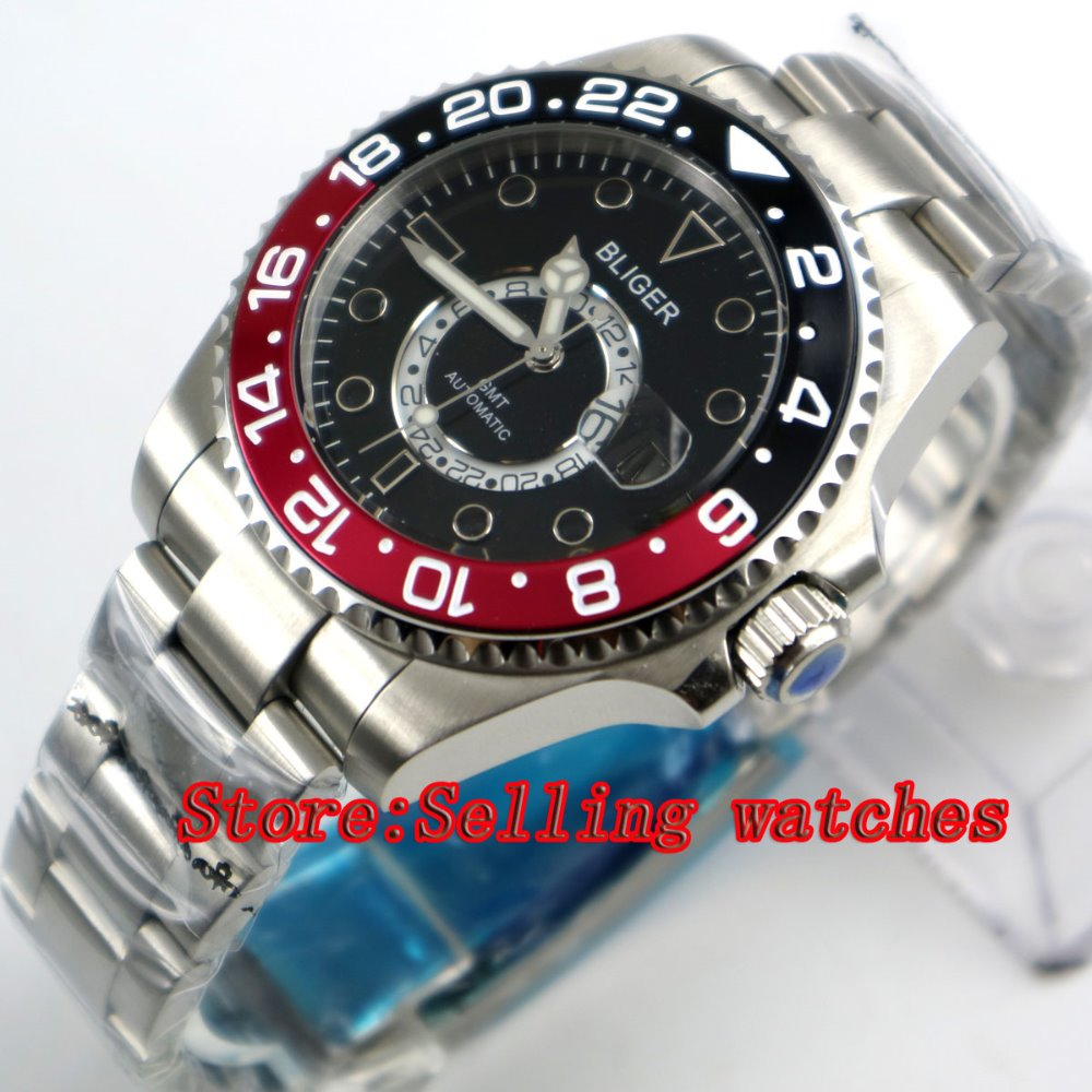 43mm Bliger Stainless Steel Case black Dial Red & black titanium Bezel Luminous Mechanical Mens Wristwatch43mm Bliger Stainless Steel Case black Dial Red & black titanium Bezel Luminous Mechanical Mens Wristwatch