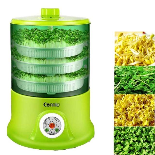 Machine à germes de haricots maison entièrement automatique 3 couches grande capacité intelligente multifonctionnelle maison intelligente germes de haricots machine