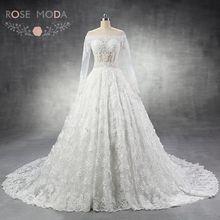 Rose Moda Luxury Long Sleeves Wedding Dress Turkey 3D Flowers Lace Wedding Dresses Arabic 1M Cathedral Train