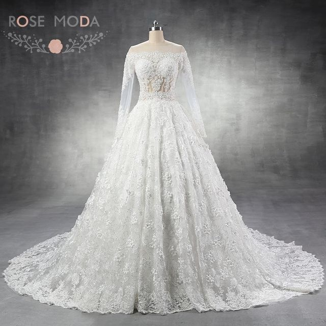 Rose Moda Luxury Long Sleeves Wedding Dress Turkey Flowers Lace Dresses Arabic 1m Cathedral