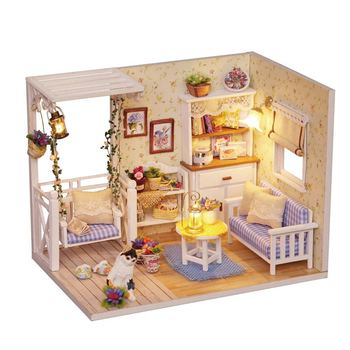 Doll House Furniture Diy Miniature 3D Wooden Miniaturas Dollhouse Toys for Children Birthday Gifts Casa Kitten Diary H013 Other Infant Toys
