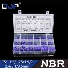 цена на 225Pcs 18Sizes Rubber Rings Purple NBR O Ring Seal Nitrile Oring Washer Sealing O-Rings Assortment Kit O-Ring Set Gasket Box