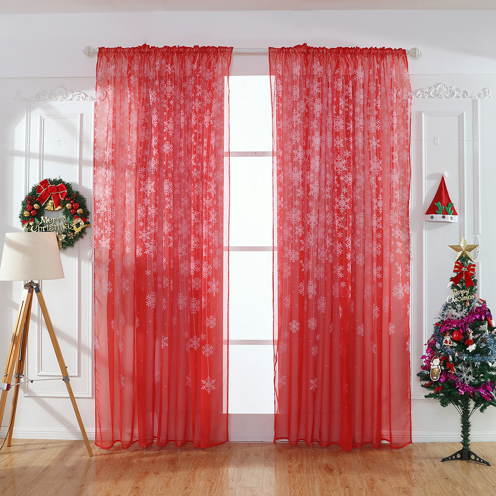 1PCS Christmas Snowflake Curtain Window Treatments Voile Door Curtain Drape Panel Sheer Tulle Valance For Living Room