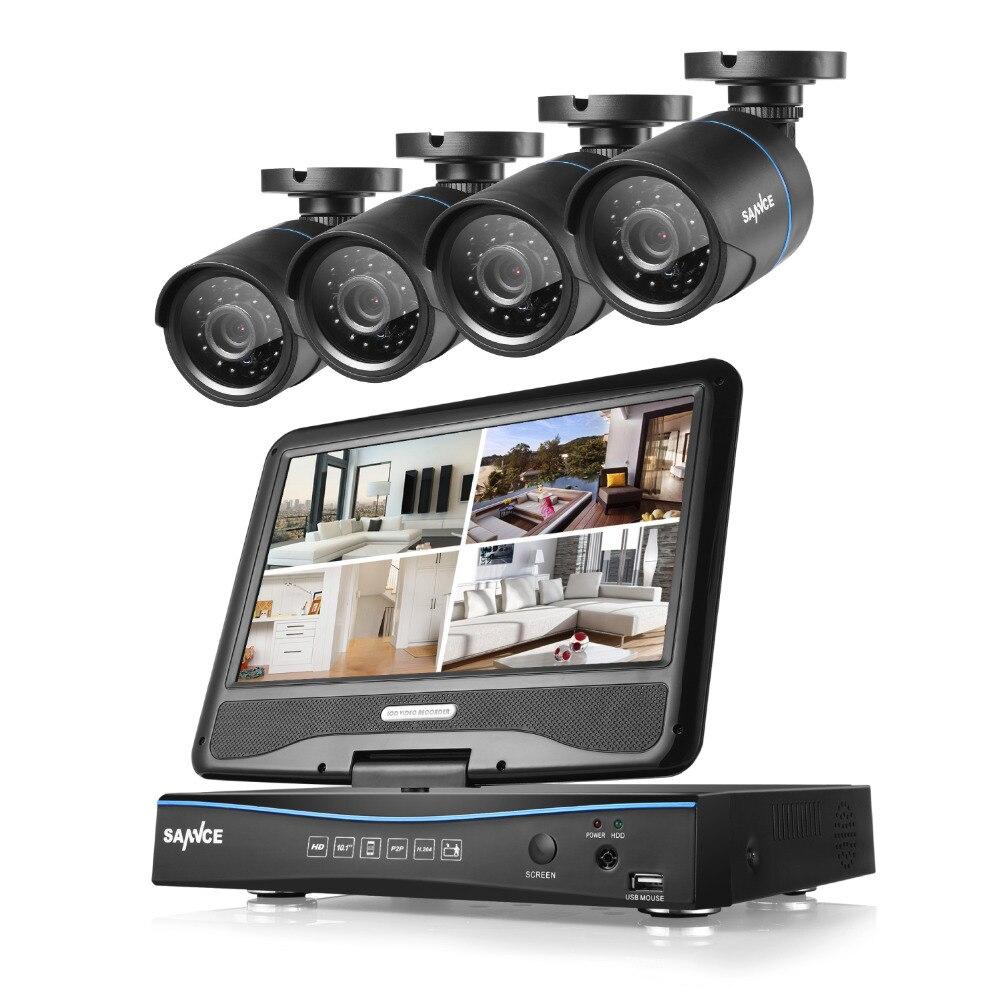 """bilder für SANNCE 8CH 720 P DVR mit eingebautem 10,1 """"LCD-monitor und (4) HD 1500tvl 1.0MP Cctv-gewehrkugel-kameras KEINE Festplatte"""
