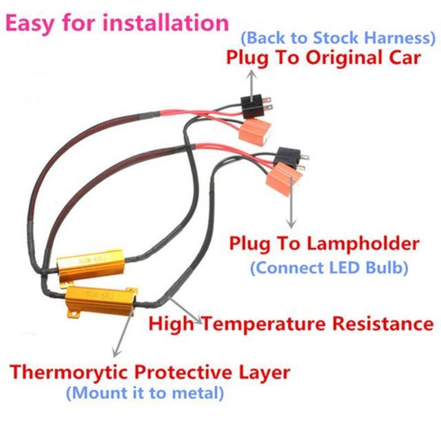 2Pcs 50W 6RJ H7 Headlight Load Resistor LED Canbus Car Fog Lamps Decoder Error Warning Resistance