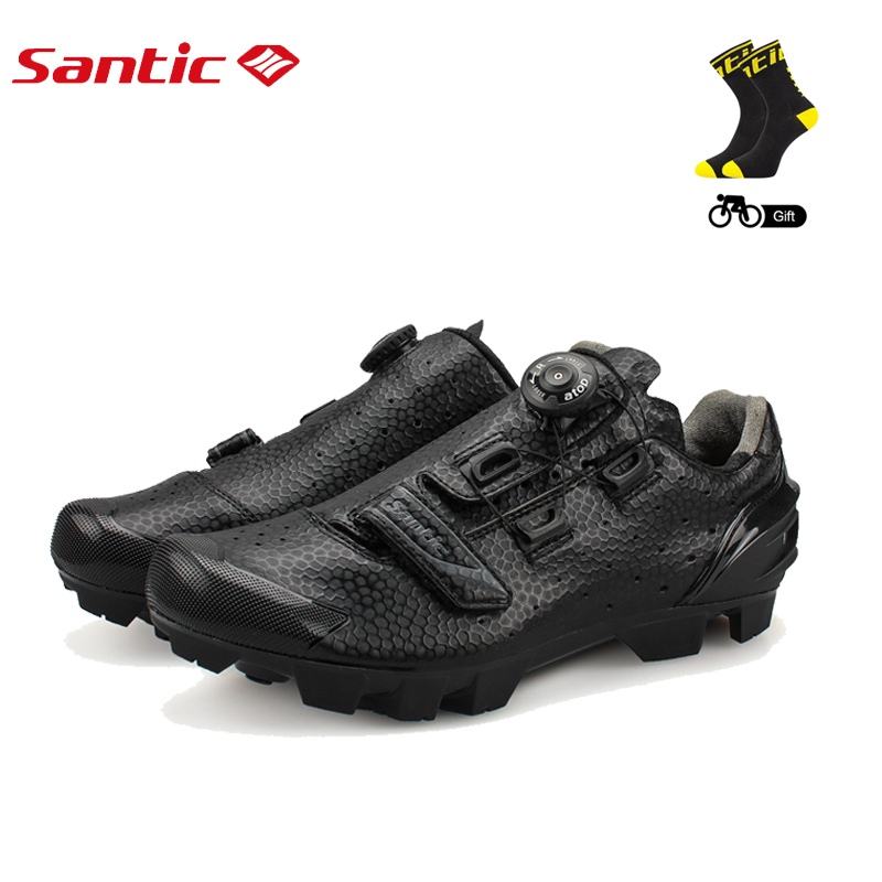 Santic Cycling MTB Bike Bicycle Men Shoes Breathable Mountain Bike Bicycle Equipment Self locking TPR PU Shoes With Free Socks