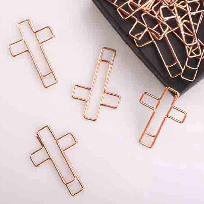clipes de papel de papel de ouro rosa cruz que da forma a clipes de papel