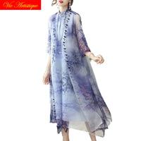 silk floral dress women's shirt dresses 2018 summer casual beach long sundress maxi plus size boho loose purple flower qipao