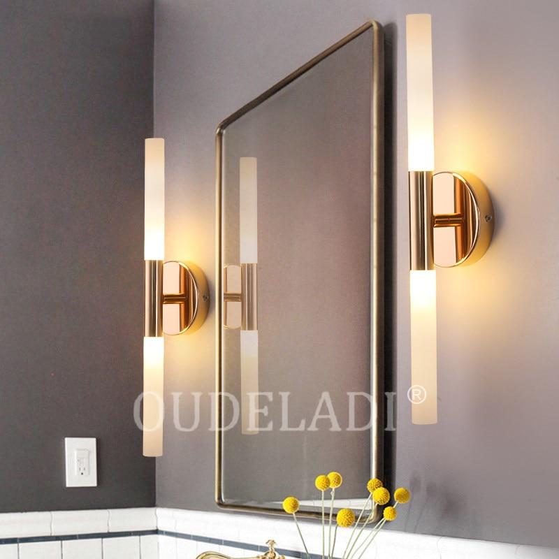 Modern Metal Tube Pipe Up Down LED Wall Lamps Bedroom Foyer Washroom Living Room Toilet Bathroom Wall Light Lamp