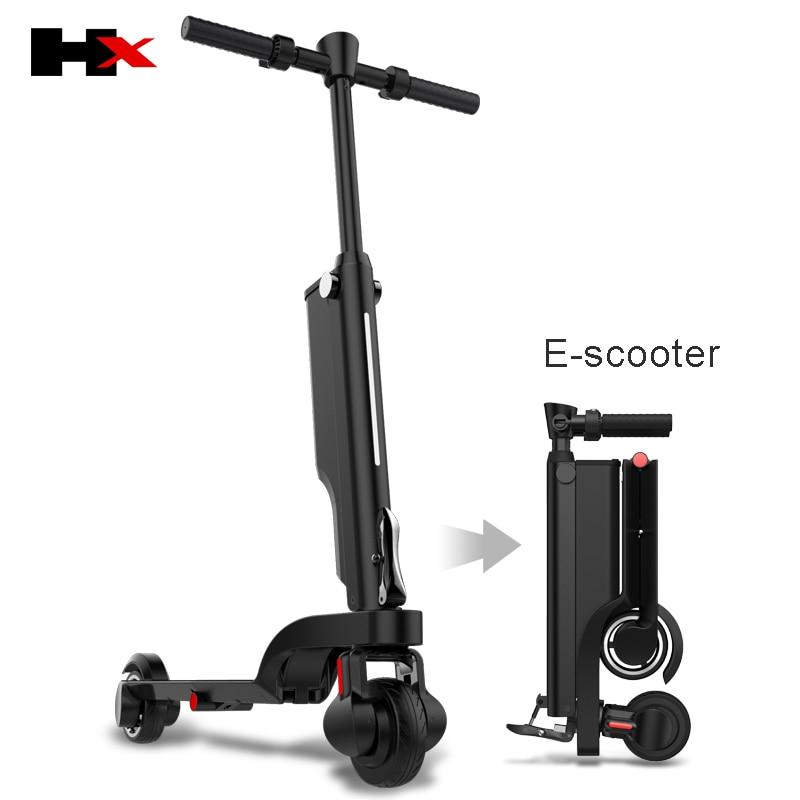 2018 последние HX Электрический самокатов, 4 раза складной, ультра-портативный взрослых скутеры, можно положить в рюкзак 25 км/ч 250 Вт двигателя