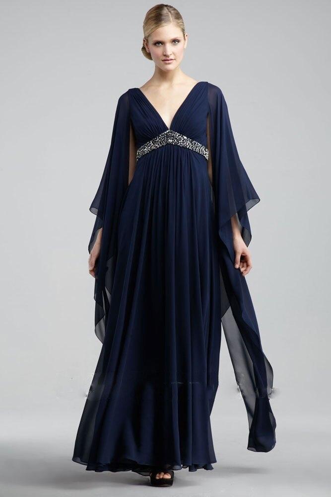 Robe d'été en mousseline de soie bleu marine ruché longue mère de la mariée robes manches longues robe de mariée mère robe de mariée mère