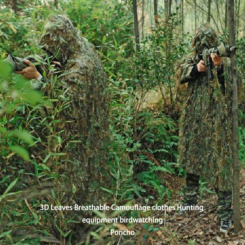 3D Leaves Breathable Camouflage Clothes Hunting Equipment Birdwatching Poncho