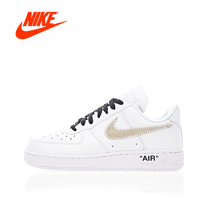 Original New Arrival Authentic OFF-WHITE x Nike Air Force 1 Low Women's Skateboarding Shoes Sneakers Sport Outdoor AA8152-700