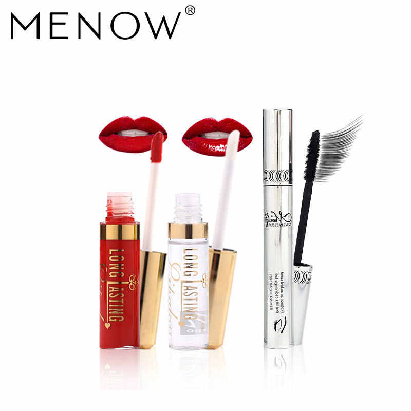 Menow бренд Make Up Set 2 in1 Водонепроницаемый блеск для губ + Увлажняющий блеск для масла и Керлинг Толстая Тушь для ресниц косметический Прямая поставка 5340
